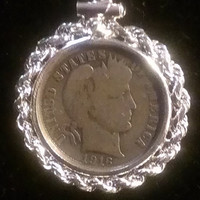 Christmas Sale Barber Dime Pendant in a Sterling Silver Rope Surround & silver tone Chain (430)
