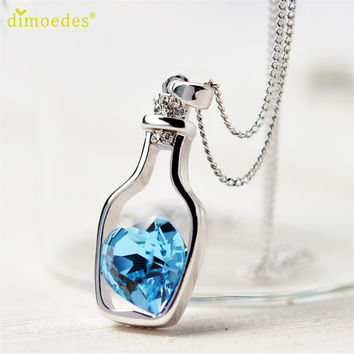 Hot Brand 2016 Fashion Love Drift Bottles Design Women Charming Crystal Chain Necklace Chocker Women Necklace Free Shipping