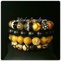 4 Stack Gemstone Bracelet Set Unique Miskas Jewelry