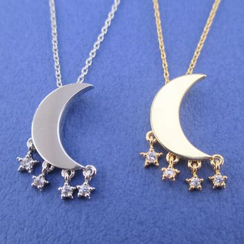 Bright Crescent Moon Pendant with Dangling Rhinestone Star Charm Necklace