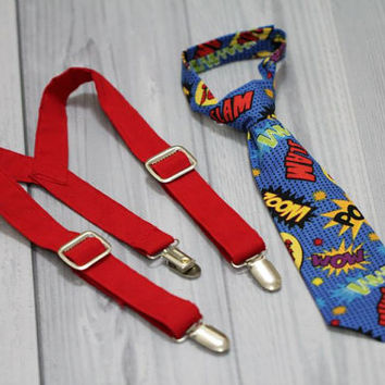 Neck Tie and Red Suspenders Set. Comic Words. Super Hero. Baby Boy Photo Prop, baby shower gift, wedding