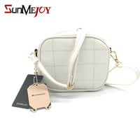 SUNMEJOY Fashion Spring Summer Women leather Crossbody small bag lattice cute Mini messenger bags women Tassel Flap shoulder bag
