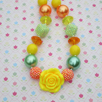 Chunky Bubblegum Necklace, Yellow, Flower, Mint, Peach, Pearls, Sparkles,Toddler, Girl, Birthday, Gift, Photo Prop
