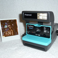 Upcycled Turquoise Polaroid 600 OneStep With Close Up And Flash Built-In - Ready To Use