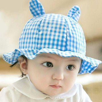 CUPUP9G Toddler Infant Sun Cap Summer Baby Girls Plaid Cut Ear Hats Sun Beach Hats LH6s