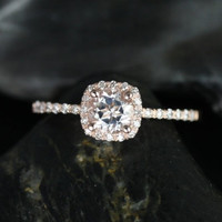 Barra Ultra Petite Size Version 14kt Rose Gold Thin White Topaz Cushion Halo Engagement Ring (Other Stone and Metals Available)