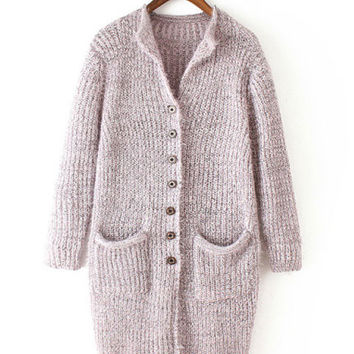 Long Sleeve Front Button Knitted Cardigan with Pocket