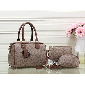 Coach Women Fashion Leather Tote Crossbody Clutch Bag Satchel Set Three Piece