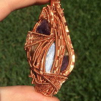 Heady Copper Wire Wrapped Multiple Gemstone Pendant