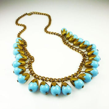 Vintage Necklace Blue Glass Gold Metal Bib Haskell Style Antique Jewelry