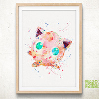 Jigglypuff, Pokemon - Watercolor, Art Print, Home Wall decor, Watercolor Print, Nersery Room, Pocket Monsters Poster