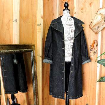 90s denim duster XL 16 18 / full length denim duster coat / long jean coat / dark wash denim maxi coat / jacket