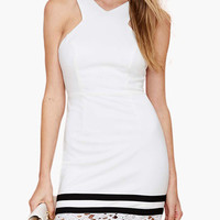White Sleeveless Strappy Back with Floral Lace Cut-Out Striped Mini Dress