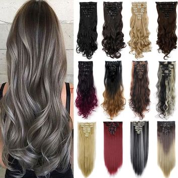 18 Clips 8 Piece/Set Synthetic Wig Full Head Straight Wavy Clip In Hair Extensions Fashions Woman Black Brown Blond