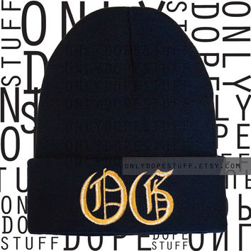 OG Beanie Old English Original Gangsta Beanie Womens Mens Girls Boys Black and Gold Thug Life Gangster Beanie