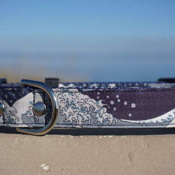The Great Wave Dog Collar - Martingale Collar - Pet Collar - Dog Collar