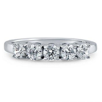 1.8TCW Russian Lab Diamond Wedding Band Half Eternity Ring