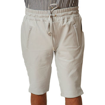 "Mens Leather Shorts White 13"" inseam with pockets relaxed fit by CD D C"