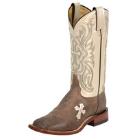 Women's Tony Lama Tan Tuscan Goat Bone Cross Cowgirl Boots