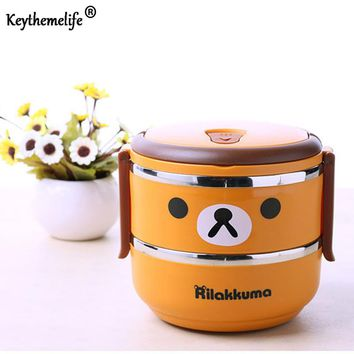 Keythemelife Cute bear Lunch boxs Multilayer Food Container Kids Thermal Bento Lunchbox Platic PP+304 Stainless Steel DA