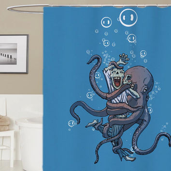 octopus the sea custom shower curtain, curtains