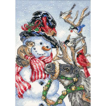 "Dimensions Gold Petite Counted Cross Stitch Kit 5""X7""-Snowman & Reindeer (18 Count)"