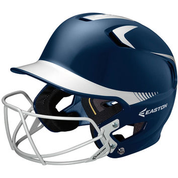 Easton Z5 Two-Tone Helmet with Baseball Facemask - Navy Silver