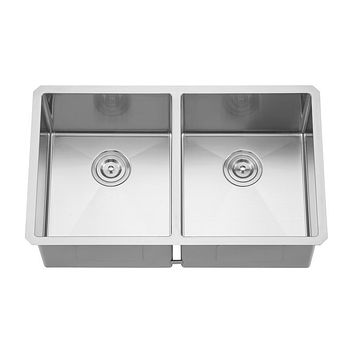 DAX-3219ER10 / DAX HANDMADE 50/50 DOUBLE BOWL UNDERMOUNT KITCHEN SINK, 18 GAUGE STAINLESS STEEL, BRUSHED FINISH