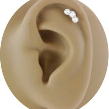Triple Imitation Pearl Cartilage Earring 18g or 16g-Helix Piercing Barbell-18 gauge-16 gauge Earring