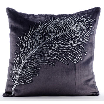 Decorative Throw Pillow Covers Accent Pillow Couch Sofa Toss Bed Pillow Case 16x16 Velvet Pillow Cover Crystal Embroidered Peacock Bliss