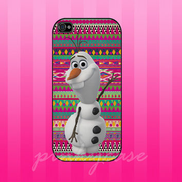 olaf disney frozen on aztec pattern case for samsung galaxy s3,s4, iphone 4/4s, iphone 5. iphone 5s. iphone 5c case
