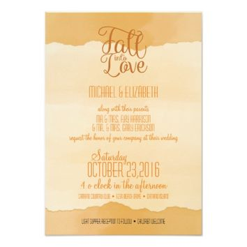 Fall/Autumn Orange Watercolor Wedding Invitation