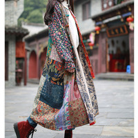 2017 New Spring Coat Loose Vintage Casual Trench Long Windbreaker Cotton Linen Patchwork Overcoat Casaco Feminino 3 Patterns