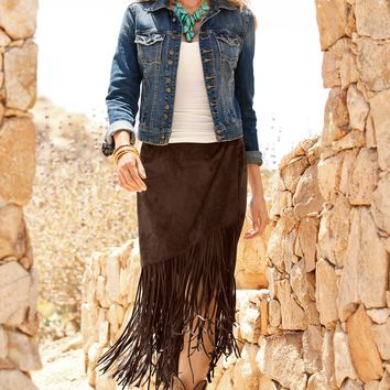 Boston Proper Faux suede fringe skirt