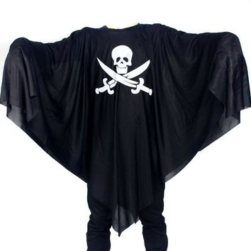 Men Women Skull Cloak Cotume Halloween Costume For Adult Pirate Gown Robe Death Cosplay Black Ghost Costume