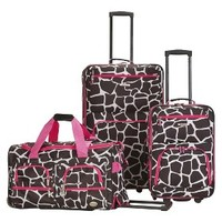 Rockland Spectra 3-pc .Expandable Rolling Luggage Set - Pink Giraffe
