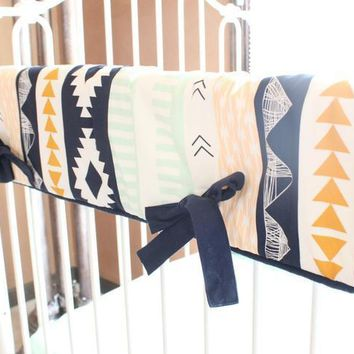 Crib Rail Cover   Tupac's Gold and Mint Aztec