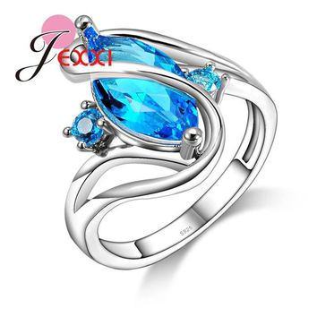 JEXXI Unique Blue Cubic Zirconia 925 Sterling Silver Rings Luxury Stone for Women Wedding Jewelry Anel Feminino