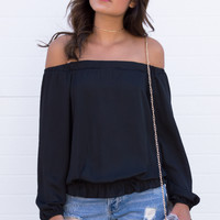 Khloe Off The Shoulder Silky Top - Black