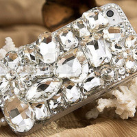crystal iphone 4s case, handmade iphone 4 cases iphone cover skin bling bling iphone 5 case - flowers iphone 4 cases