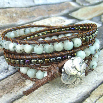 Mint Green Leather Wrap bracelet Dark Brown Leather Bracelet for Woman Leather Triple Wrap Bracelet Mint Leopard Skin Jasper Beaded Bracelet