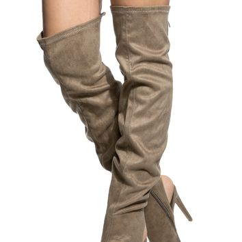 Taupe Faux Suede Thigh High Peep Toe Boots @ Cicihot Boots Catalog:women's winter boots,leather thigh high boots,black platform knee high boots,over the knee boots,Go Go boots,cowgirl boots,gladiator boots,womens dress boots,skirt boots.