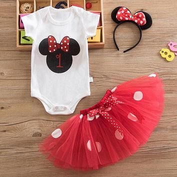 Summer Baby Girl Dress Newborn Costume Mouse Fancy Infant Dresses for Girl Outfits  First Birthday Christening Vestido Infantil