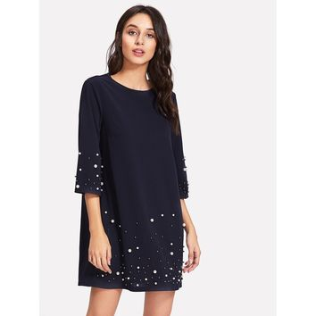 Pearl Beading Tunic Dress