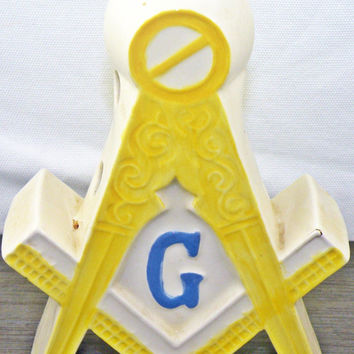 Masonic Ceramic Candle Holder From The 1950s