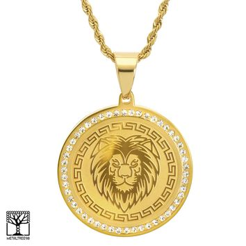 Jewelry Kay style Men's Stainless Steel King Lion CZ Medallion Pendant Chain Necklace SCP 469 G
