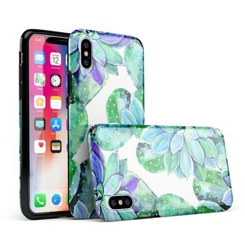 Watercolor Cactus Succulent Bloom V13 - iPhone X Swappable Hybrid Case