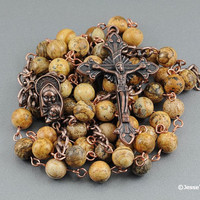 Picture Jasper Copper Wire Wrapped Rosary Catholic Rustic