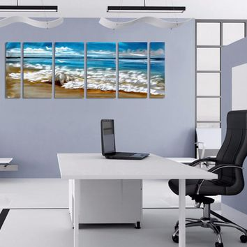 Beach Ocean Seascape Metal Aluminum Wall Art Canvas Panel Print Picture
