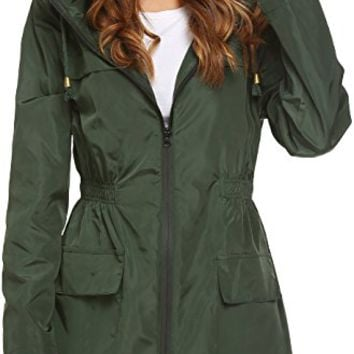 Womens' Waterproof Lightweight Raincoat Hooded Outdoor Hiking Long Rain Jacket